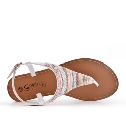 White sandal sandal with pearls