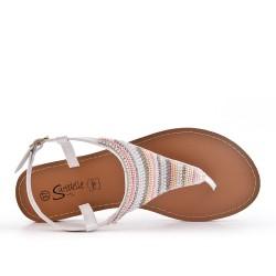 Sandale Tong blanc ornée de perles