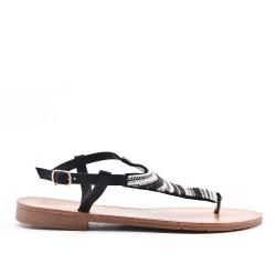 Sandalia de sandalia negra con perlas
