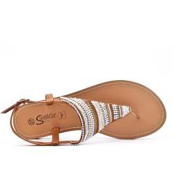 Sandale Tong camel ornée de perles