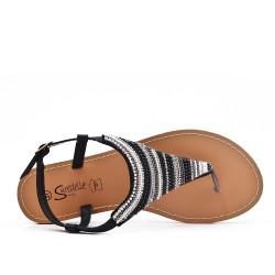 Sandale Tong noir ornée de perles