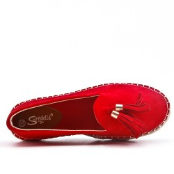 Red glitter espadrille with pompom