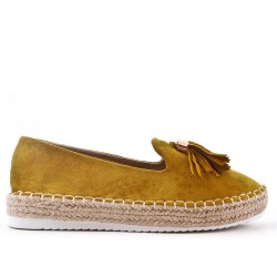 Yellow glitter espadrille with pompom
