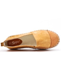 Yellow faux suede espadrille with thick soles