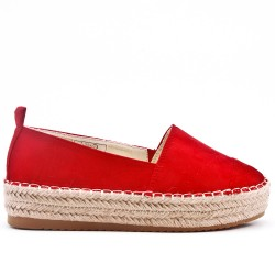 Red faux suede espadrille with thick soles