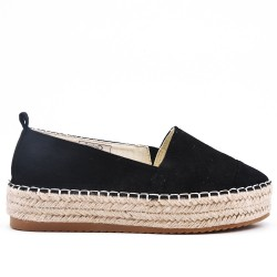 Black faux suede espadrille with thick soles