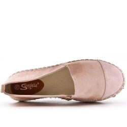 Pink faux suede espadrille with thick soles