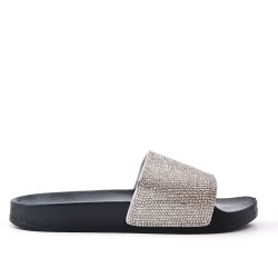 Available in 4 colors -Claquette decorated with rhinestones with heels