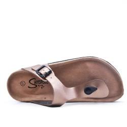 Disponible en 4 couleurs -Tong en simili cuir à boucle