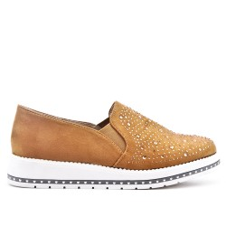 Camel faux suede derby with rhinestones