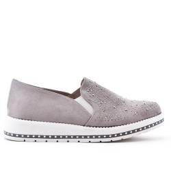 Gray faux suede derby with rhinestones