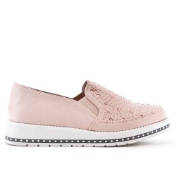 Derby rose en simili daim orné de strass