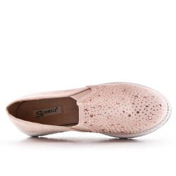 Pink faux suede derby with rhinestones