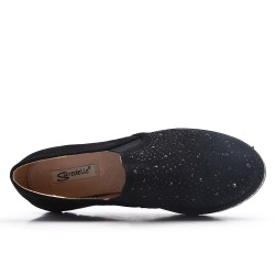 Black faux suede derby with rhinestones