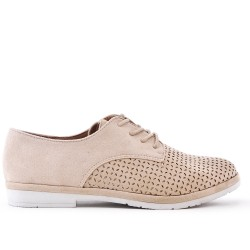 Beige lace-up brogue