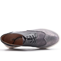 Gray faux leather lace-up brogue