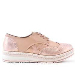 Pink faux leather lace-up brogue