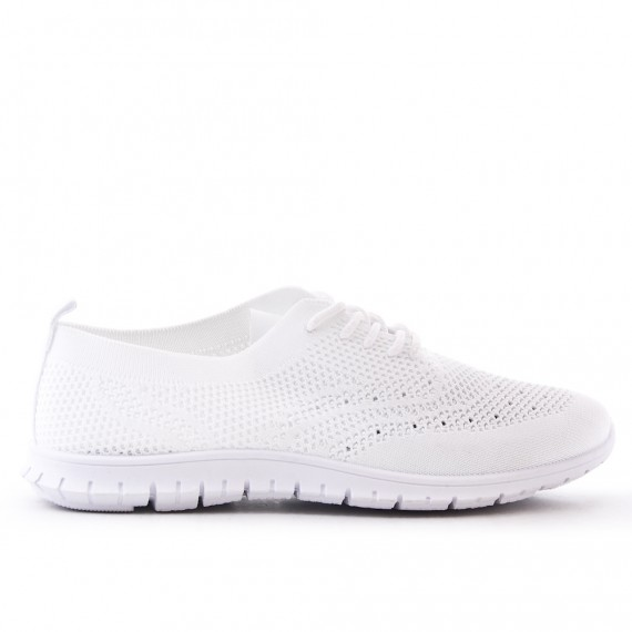 White sneaker in stretch lace fabric
