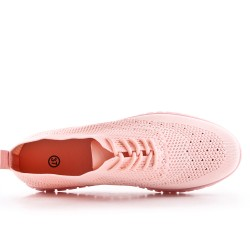 Pink sneaker in stretch lace fabric