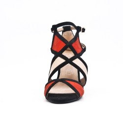 Multicolored sandal with heel