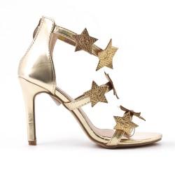 Sandale dorée à motif étoile strass