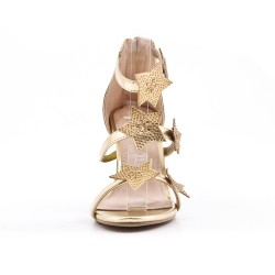 Golden sandal with rhinestone star pattern