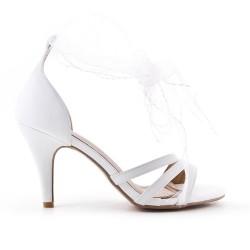 Sandale blanche à ruban