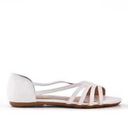 Ballerine confort blanc en simili cuir