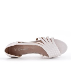 White comfort ballerina in faux leather