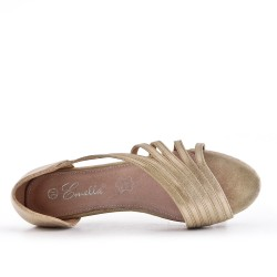 Ballerine confort doré en simili cuir