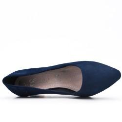 Zapatos de tacón de ante neazul gros con tacón