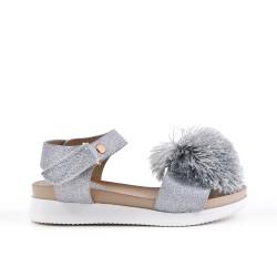 Sandale fille à pompon