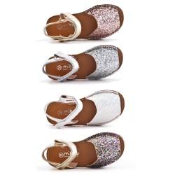 Sandale fille en simili cuir pailleté