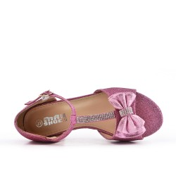 Pink girl sandal with small heels