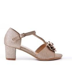 Sandale fille dorée à petit talon