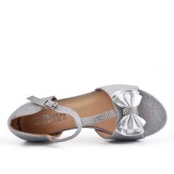 Sandale fille argent à petit talon