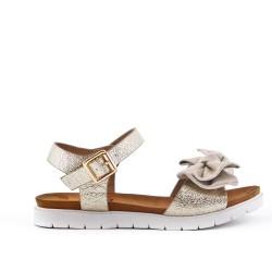 Sandale fille dorée à fleur
