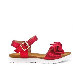 Sandale fille rouge à fleur
