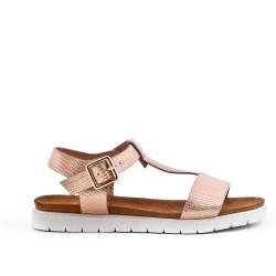 Sandale fille dorée en simili cuir