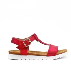 Sandale fille rouge en simili cuir