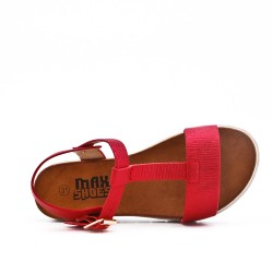 Sandal red girl in leatherette