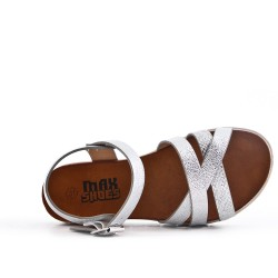 Girl sandal silver with crossed straps
