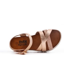 Girl sandal champagne with crossed straps
