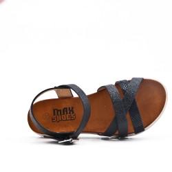Girl sandal black with crossed straps