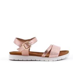 Sandale fille rose en simili cuir