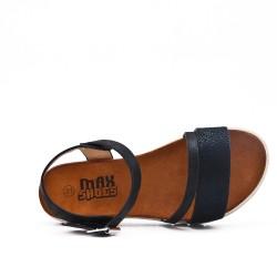 Sandale fille noire en simili cuir