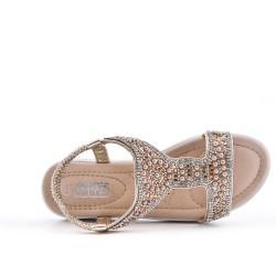 Sandale fille dorée à perle