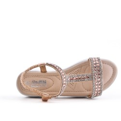 Golden girl sandal with rhinestones