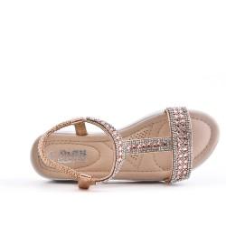 Sandale fille dorée à strass