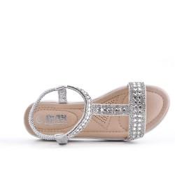 Silver girl sandal with rhinestones